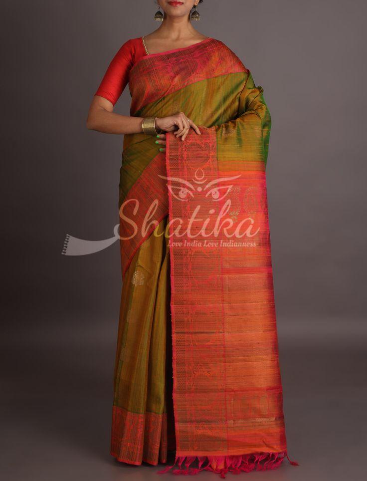 Jeena Hena Green With Red Ornate Border Pallu Pure Jute Silk Saree