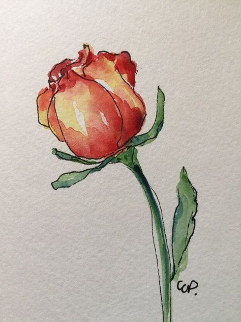 Image Result For Hand Painted Watercolor Single Red Rose Silhouette