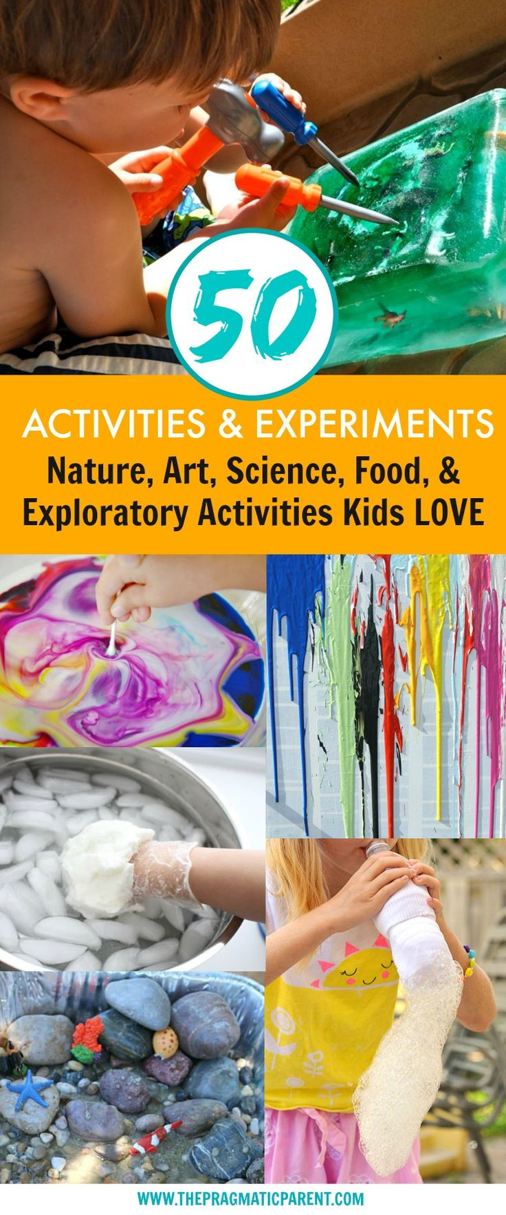 50 Summer Activities and Experiments for Kids to Explore and Learn During the Summer. 50 Activities and Experiments with Food, Nature, Science and Exploratory Experiments Kids will Love. Easy Set up Activities and Fun Experiments for Kids. via @https://www.pinterest.com/PragmaticParent/