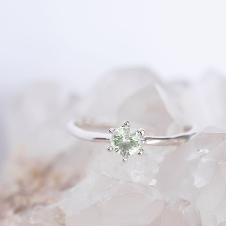 Green Amethyst solitaire ring in white gold by 27JEWELRY / feminine engagement ring