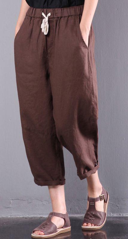 new brown linen pants plus size elastic waist crop pants