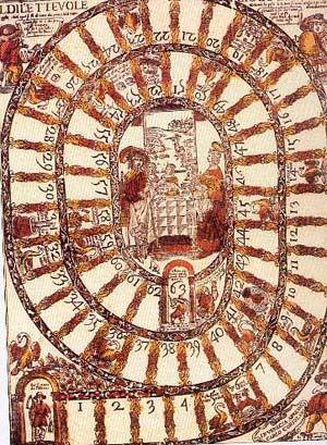 """""""Juego de la Oca""""  Paisaje dividido en etapas obligatorias. Trece etapas concretamente, las mismas que aconseja el Codex Calixtinus (hacia 1140) para el Camino de Santiago en España."""
