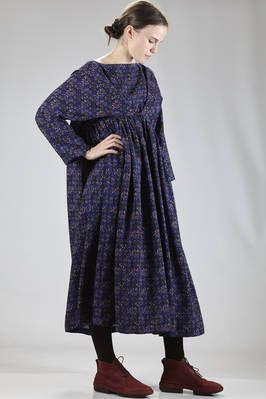Daniela Gregis | long and wide dress in wool crêpe with octagonal 'rosettes' fantasy | #danielagregis