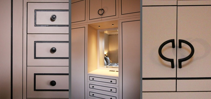 Strong lines in bespoke joinery inspired by the art deco era, with curves of cabinet handles, again bespoke. Not intentional, but a Chanel vibe coming through - oh so chic! From our Chelsea design project