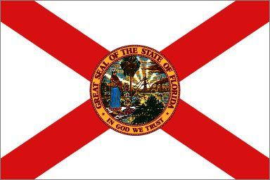 "Florida's State Flag (Entered the Union of March 3, 1845, 27th state) ~ Origin of Name: Named on Easter 1513 by Ponce de Leon for Pascua, Florida - ""Flowery Easter"" ~ State Song: ""The Swanee River"" ~ State Motto: In God We Trust ~ National Forest: 3; National Parks: 13; State Forest: 31;State Parks: 158 ~ Famous for: Disney World, Daytona 500, NASA Space Center, beaches and Everglades"