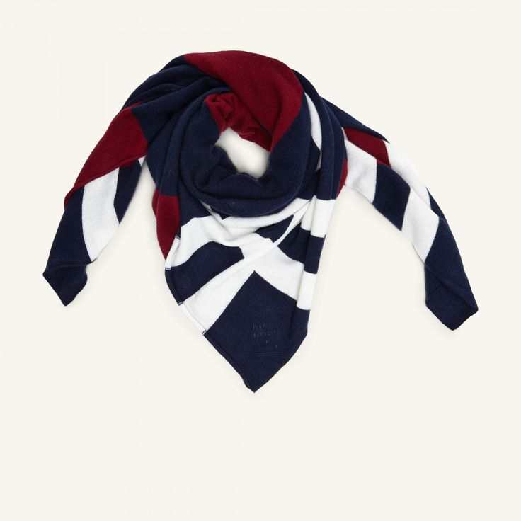 People's Republic Of Cashmere – Printed Scarf – White/navy/burgundy – Støy