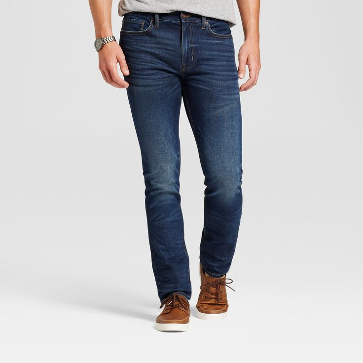 Men's Skinny Fit Jeans - Goodfellow & Co Dark Vintage Wash 38x32, Blue