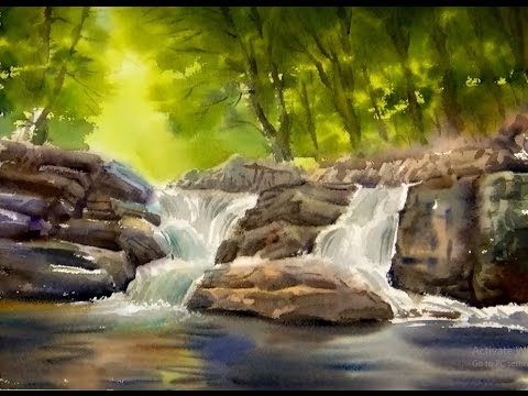 Watercolor Painting The Forest Waterfall - YouTube