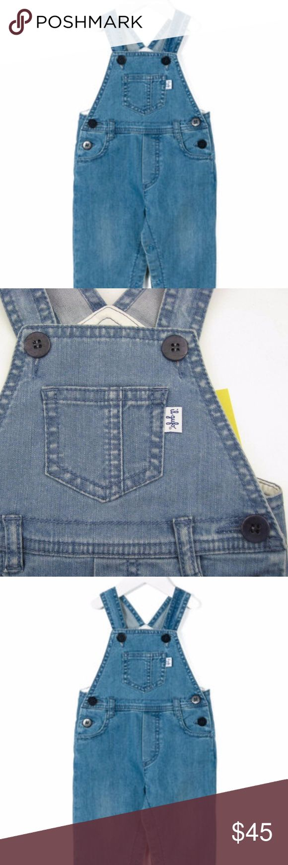 Il Gufo Denim Overall (NEW) Blue denim dungarees by Il Gufo, made in soft cotton with a washed and faded look.  Useful and practical, they fasten with logo buttons on the straps and at the sides and have front and back pockets with a decorative fly.  With a lined bib, there is a chest pocket, with the designer's fabric logo tab sewn on the seam.  98% cotton, 2% elastane (soft, woven feel) Bib lining: 100% cotton (fine, soft feel) Machine wash (40*C) Button fasteners 6-12 month Made in Italy…