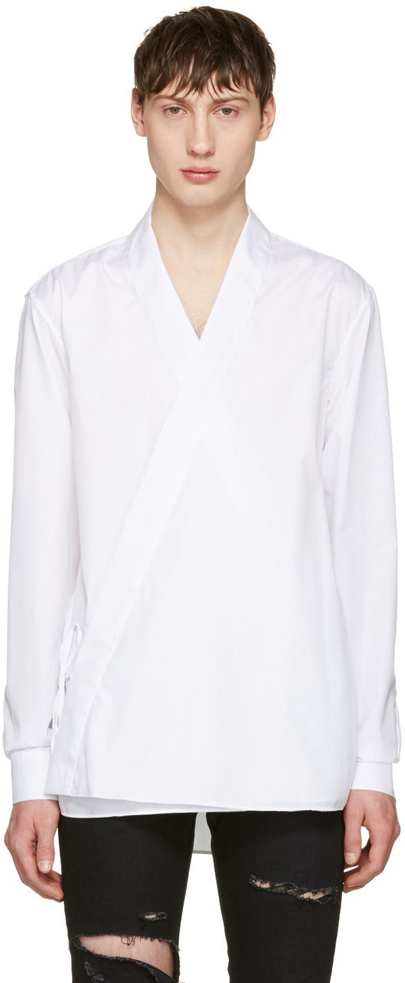 Balmain: White Kimono Shirt | SSENSE