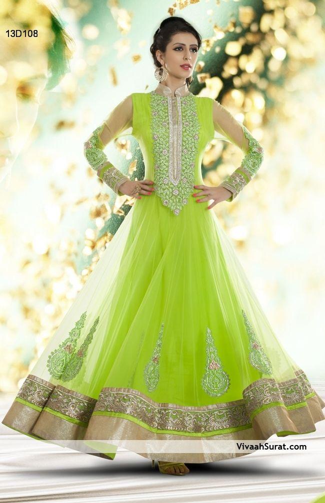 FOR MORE BENEFICIAL DETAILS CLICK BELOW LINK: http://www.vivaahsurat.com/salwar-kameez/incredible-neon-green-net-anarkali-salwar-suit-13d108