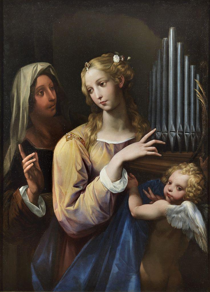 Santa Cecilia con l'organo portatile, un'altra santa e un putto. Fondazione Sorgente Group. Roma- Giuseppe Cesari, detto il Cavalier d'Arpino