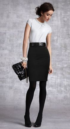 Women's fashion   Classy white top with black pencil midi skirt, belt, tights, heels, bracelets and a clutch