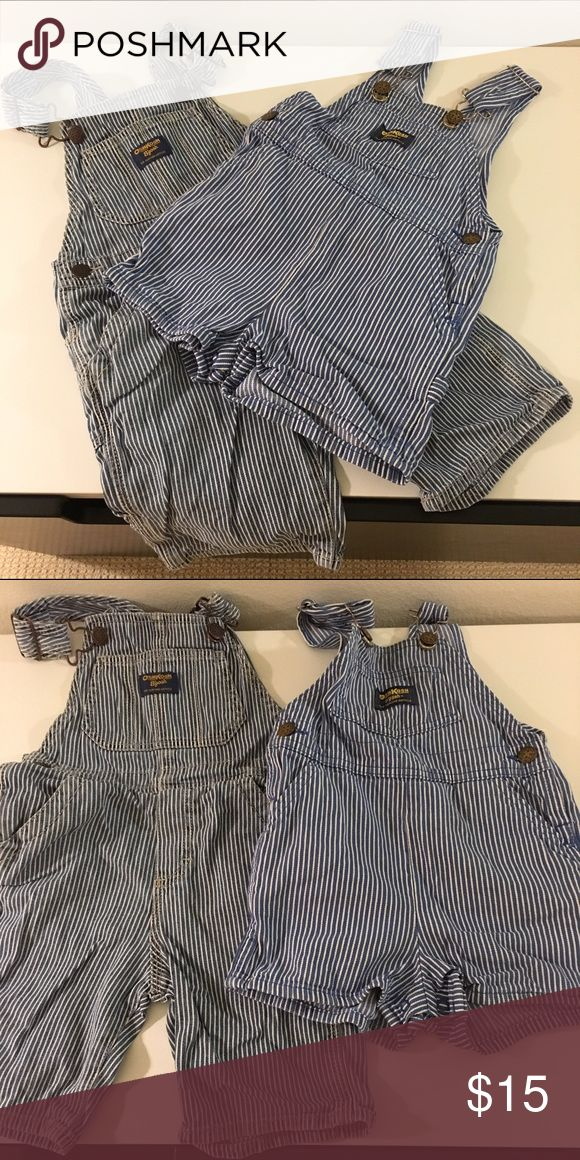 3T dungaree bundle Two pairs of striped Oshkosh dungarees. Both are shorts: one shorter than the other. Shorter ones have buttons for easy diaper change. Used and wash but no direct damage. Osh Kosh Bottoms Jumpsuits & Rompers