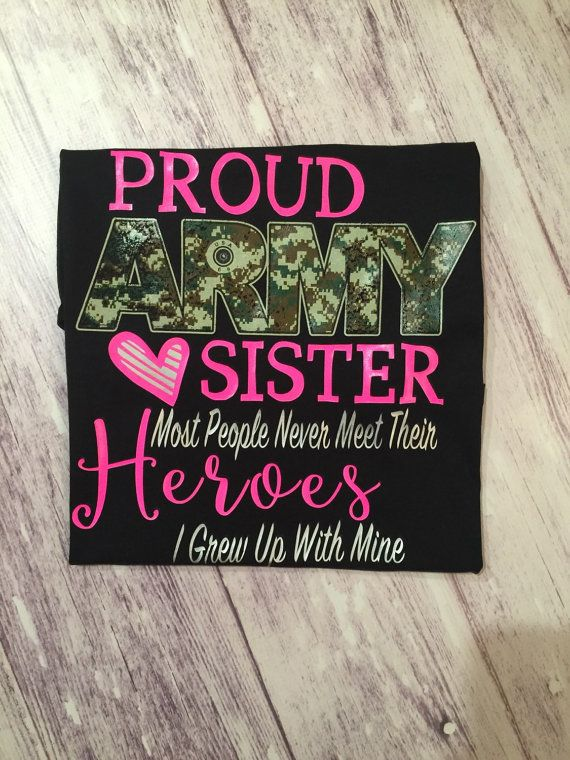 Proud Army Sister t-shirt army sister shirt by PurpleElephantCo