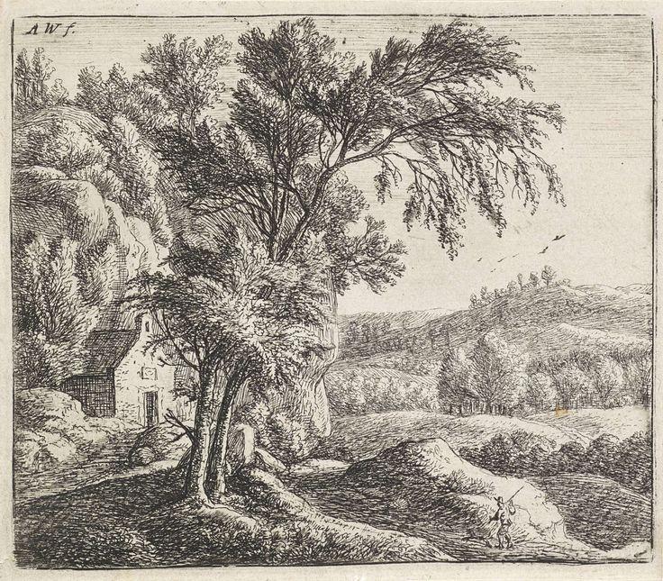 Anthonie Waterloo | Kluizenaarshut, Anthonie Waterloo, 1630 - 1663 | In een heuvelachtig landschap staat links een eenvoudig huis tegen een rotswand. Linksvoor staan twee bomen. Rechts loopt een man met een hond richting het huis.