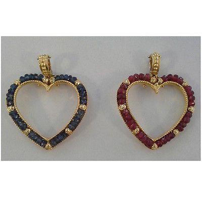 Pendente oro giallo 18 kt forma cuore impreziosito da  pietre