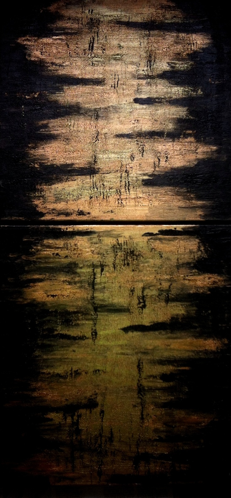 """SEEME   """"... you need people who believe what you believe ... """"    / Made in London,   Golden Acrylic Painting by Melike Altinisik / 80x40cm"""