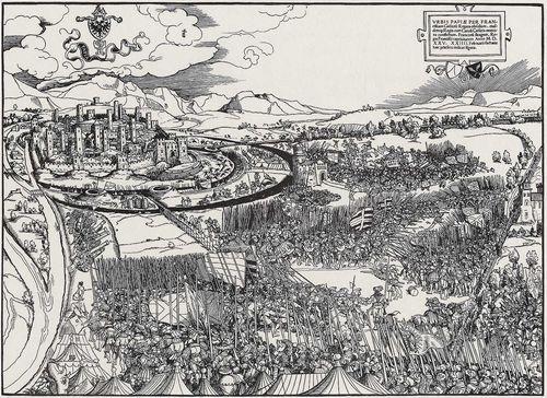 Breu, Jörg the Elder (attributed), Battle of Pavia( Schlacht von Pavia) 1525 (after), woodcut, 38,1 × 52,5 cm, Stuttgart, Staatsgalerie  - Zeno.org