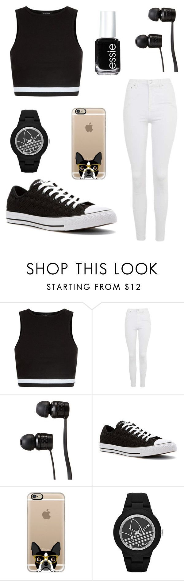 """""""Black and white"""" by be-robinson ❤ liked on Polyvore featuring New Look, Topshop, Vans, Converse, Casetify, adidas and Essie"""