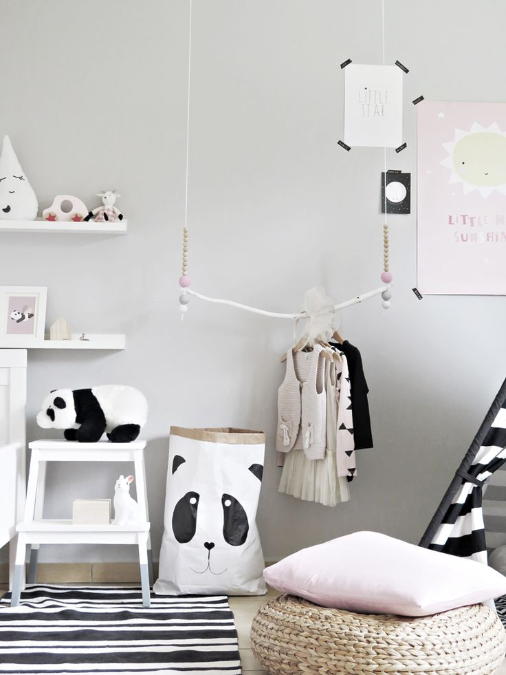 Kids room decoration details in scandi style
