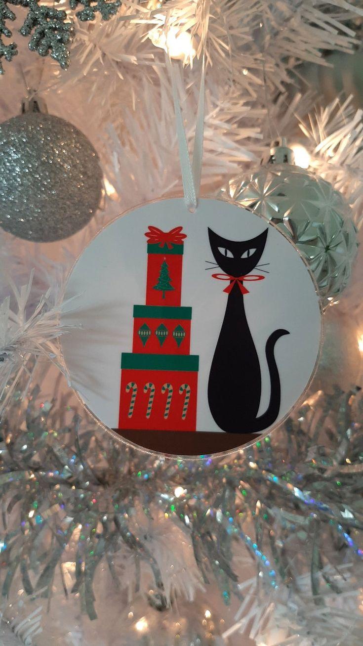 Mid Century Modern Christmas Tree Ornaments Franciscan Starburst Boomerangs Starbursts Oblongs Black Cat Siamese Modern Christmas Tree Mid Century Modern Christmas Modern Christmas