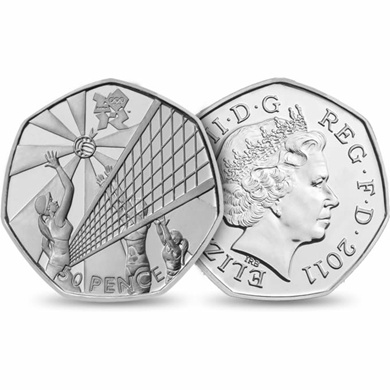 The Volleyball 50p coin, designed by Daniela Boothman, comes in a fun and vibrant pack, making the London 2012 Sports Collection a special set of coins for all the family.