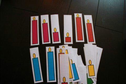 Sorteer de kaarsen op kleur of op lengte. Begrippen lang, kort, langste, middelste ed
