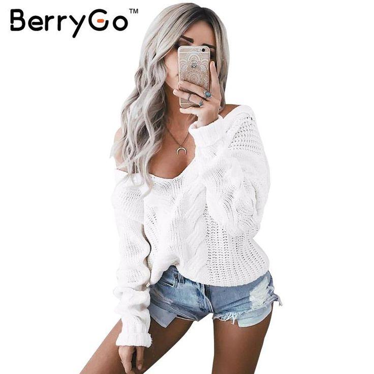 BerryGo Mùa Đông dệt kim áo len nữ 2016 Mùa Thu trắng hollow out áo thun áo len Sexy sâu v cổ dài tay áo jumper