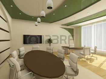 cielo raso: Interior de la oficina moderna con el lugar de trabajo