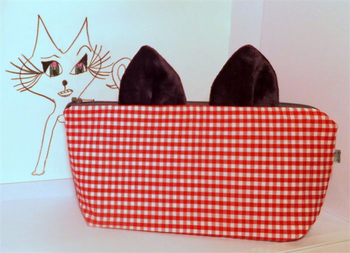 Cat Ears Pencil Case. Zippered Purse. Make Up Bag. Red Gingham.