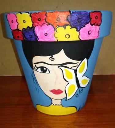 Macetas Pintadas a Mano Diseño Frida... Podes encontrarlas en mi puesto de la feria de Villa Dominico todos los domingos de 9 a 18 Hs.