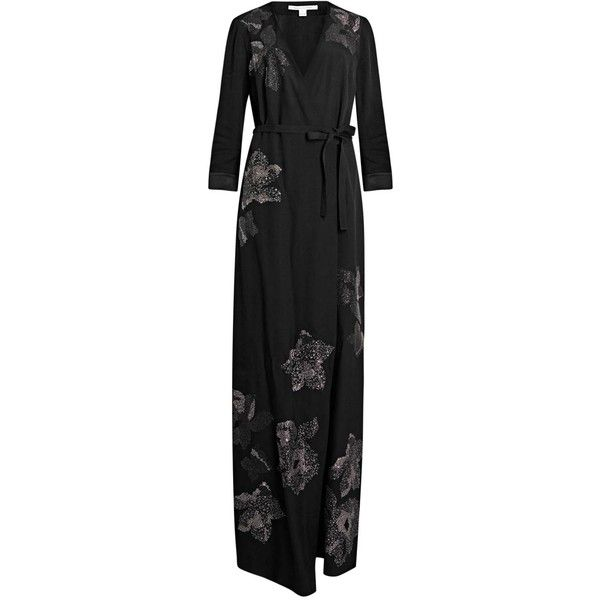 Womens Evening Dresses Diane Von Furstenberg New Julian Black... ($1,285) ❤ liked on Polyvore featuring dresses, diane von furstenberg dresses, kohl dresses, black maxi dress, wrap front dress and studded dress