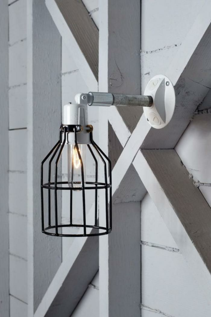 This Custom Made To Order Outdoor Industrial Wall Lamp, Wire Cage Exterior  Wall Sconce Comes With:  White Or Gray Metal Socket (Wet Location) Metal  Black ...