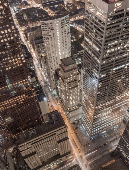 Toronto High Finance District at Night Wallpaper for HTC Windows Phone 8S
