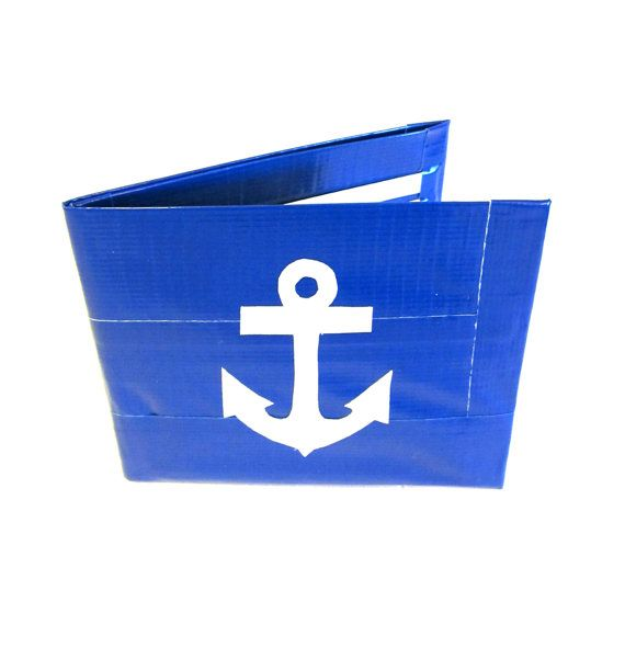 Blue Duct Tape Anchor Wallet on Etsy, $12.00