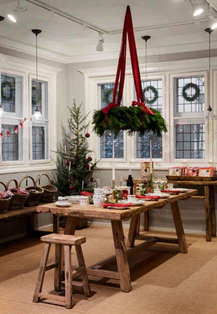 hanging advent wreath with red ribbons ala Tasha Tudor's books - love the corner windows with wreaths & tiny corner tree too