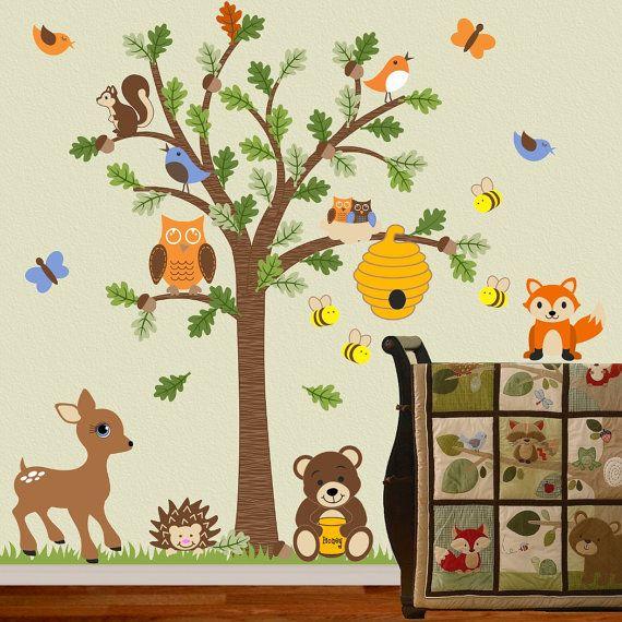 Elegant Children Wall Decal Forest Friends Honey Bear Tree Decal Fox Deer Bee  Woodland OHSC