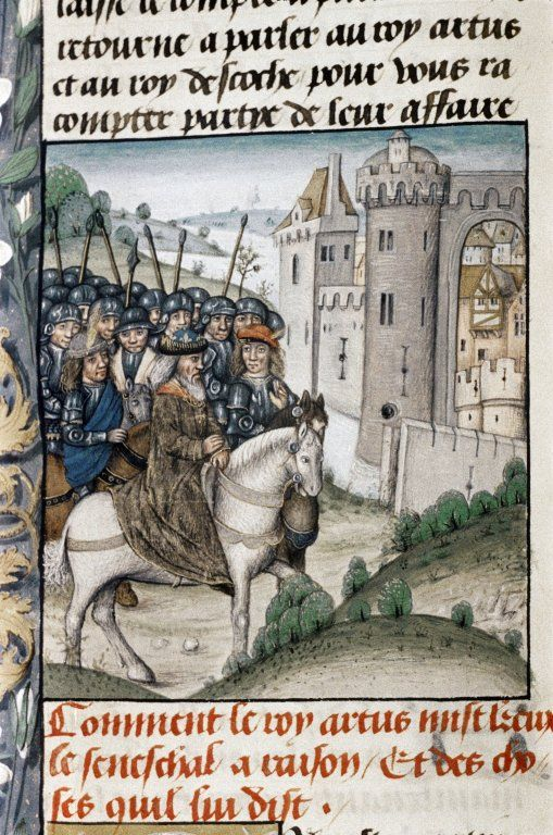 King Arthur and his knights return to Camelot after a tournament. This image is from a 14th-century manuscript.