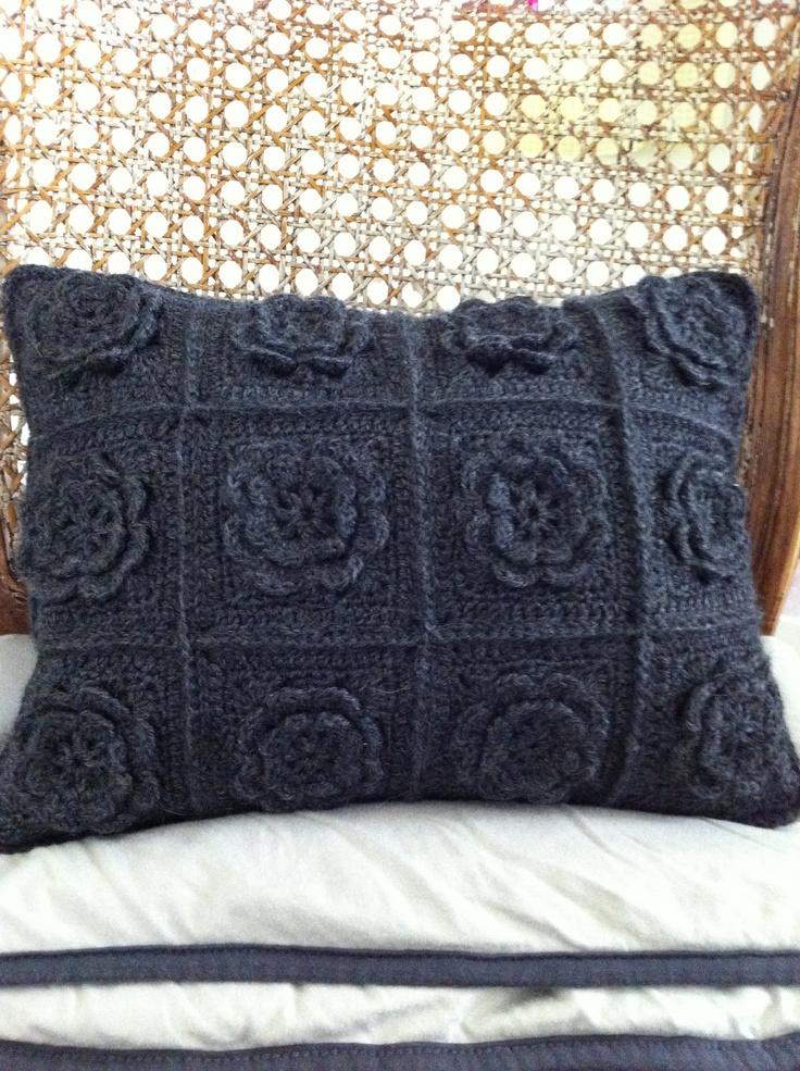 crochet cushion, chic in single colour