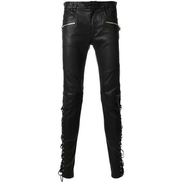 Balmain lace-up leather trousers (€1.715) ❤ liked on Polyvore featuring men's fashion, men's clothing, men's pants, men's casual pants, black, mens cuffed pants, mens leather pants, men's 5 pocket pants and men's five pocket pants