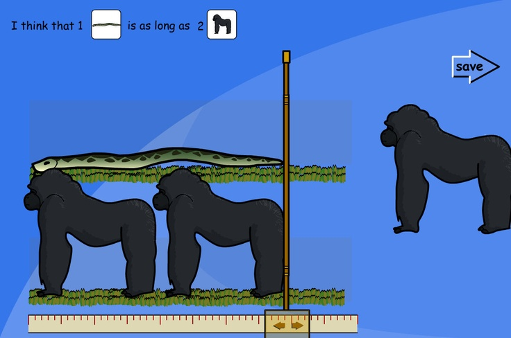 A TES iboard activity for measuring and comparing lengths of different animals, using whole meters. Predict how many of one type of animal will be the same length as the other one. Drag the animals into place on the measuring screen to test your estimation. A report of the outcomes is created.