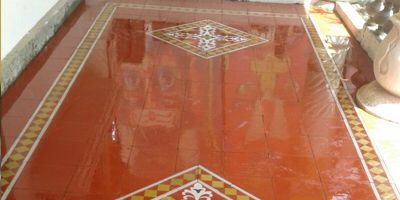 Athangudi tiles made in Sivaganga District, Tamil Nadu, India. Due to a naturally occurring compound in the local sand called silica mica the more you walk on them the more glossy they become.