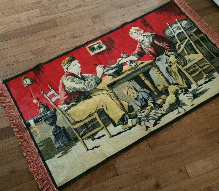 """Vintage Tapestry Wall Hanging, Farmhouse Kitchen Scene, Fringed Tapestry/Floor Covering, 43"""" Long X 25 1/2"""" Wide Wall Hanging by EmptyNestVintage on Etsy"""