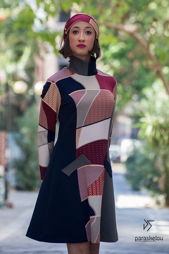 A-line dress demure mini in geo-print multi by paraskeloufashion