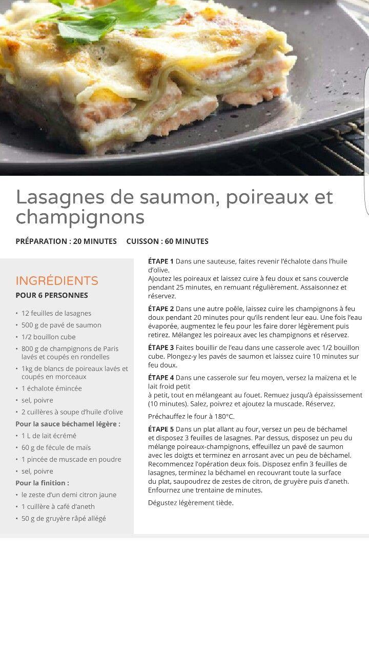 Lasagnes de saumon, poireaux et champignons