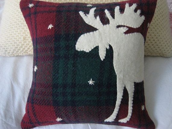 Plaid Wool Moose Pillow by stbrendans on Etsy - Paula needs some of these!