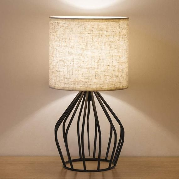 Vintage Nightstand Lamp For Bedroom, Small Farmhouse Table Lamp