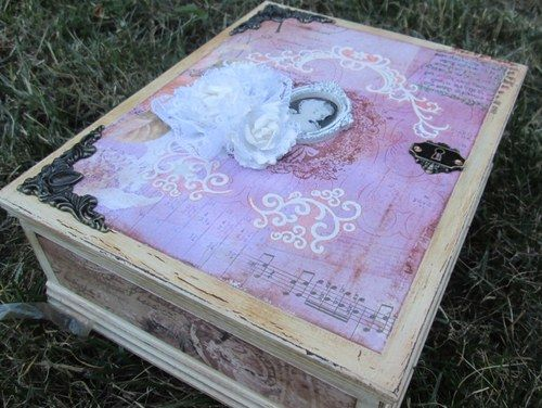 Wooden box, patinated and decorated with scrapbook paper and ornaments