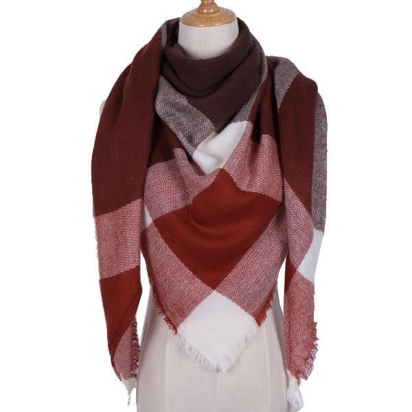 Winter Triangle Scarf Women Shawls and Wraps Cashmere Solid Color Scarves Blanket